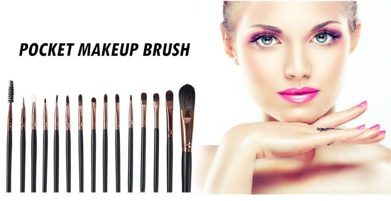 Professional 15PCS Makeup Brushes Set for Eyeshadow Eyeliner Eyebrow