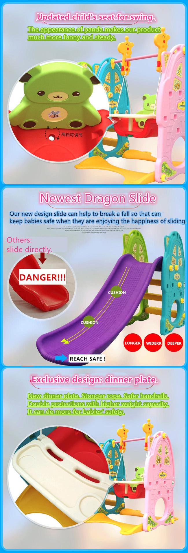 Children Plastic Slide and Swing for Garden