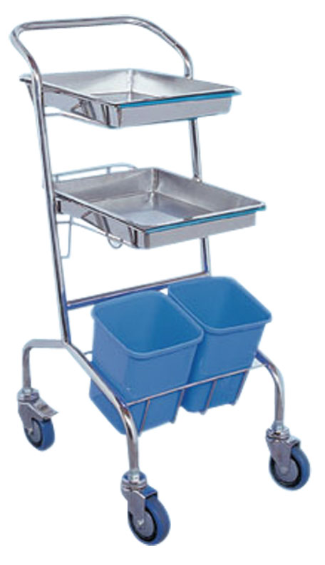 Stainless Steel Medical Mayo Tray Stand Trolley with Two Posts