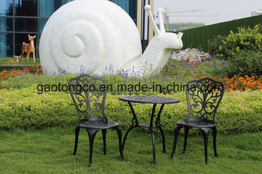 Fendias Outdoor Patio Cast Aluminum Leaf Design Bistro Set in Antique White
