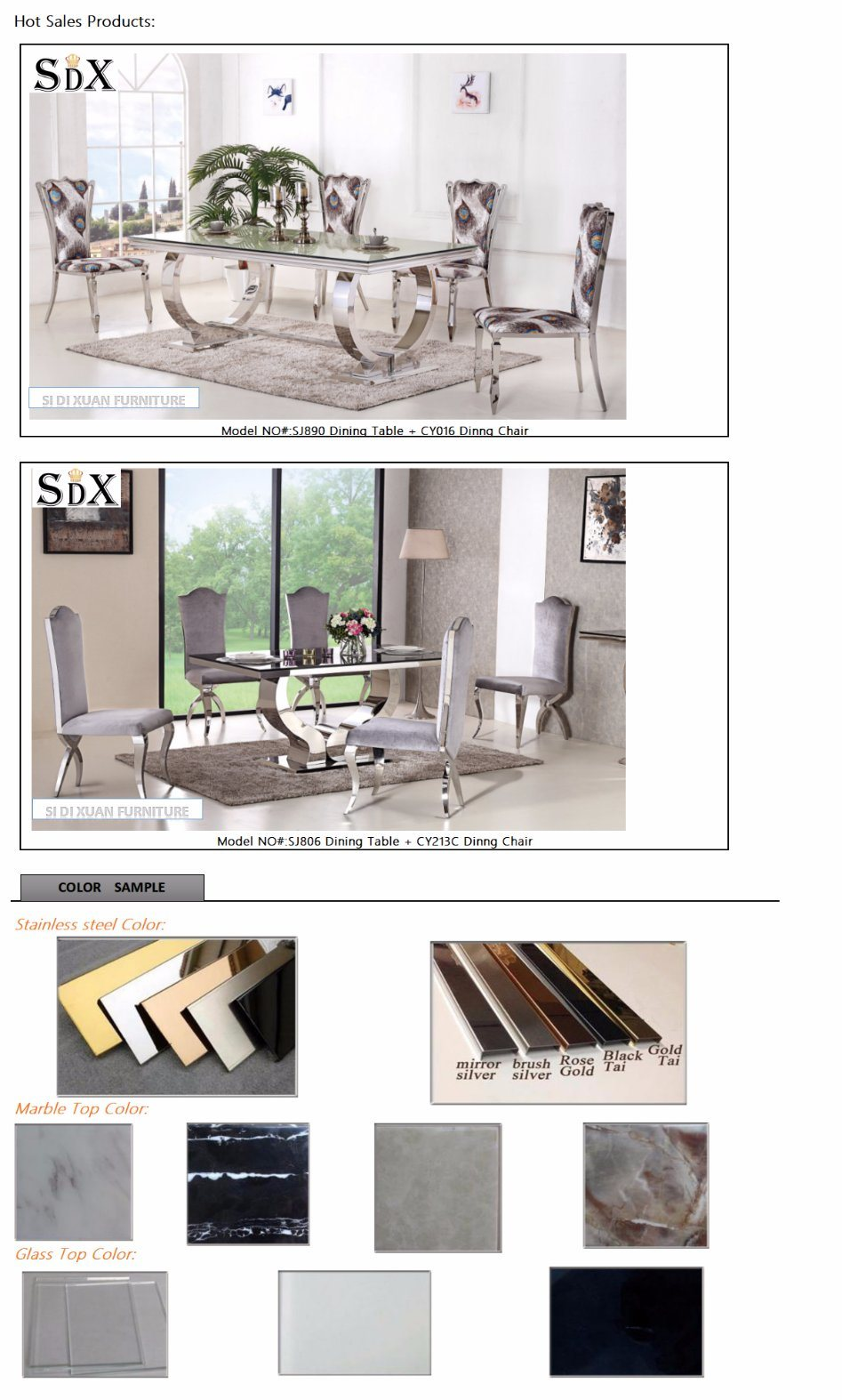 2017 New Luxury Design Stainless Steel PU Leather Banquet Dining Chair