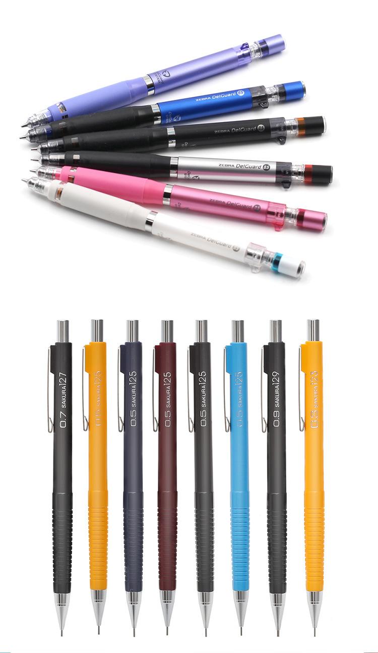 New Fashion Fancy Customized Logo Printing Airtight School Office Stationery 0.5/0.7 mm Plastic Metal Grip Barrel Lead Refill Included Auto Mechanical Pencil