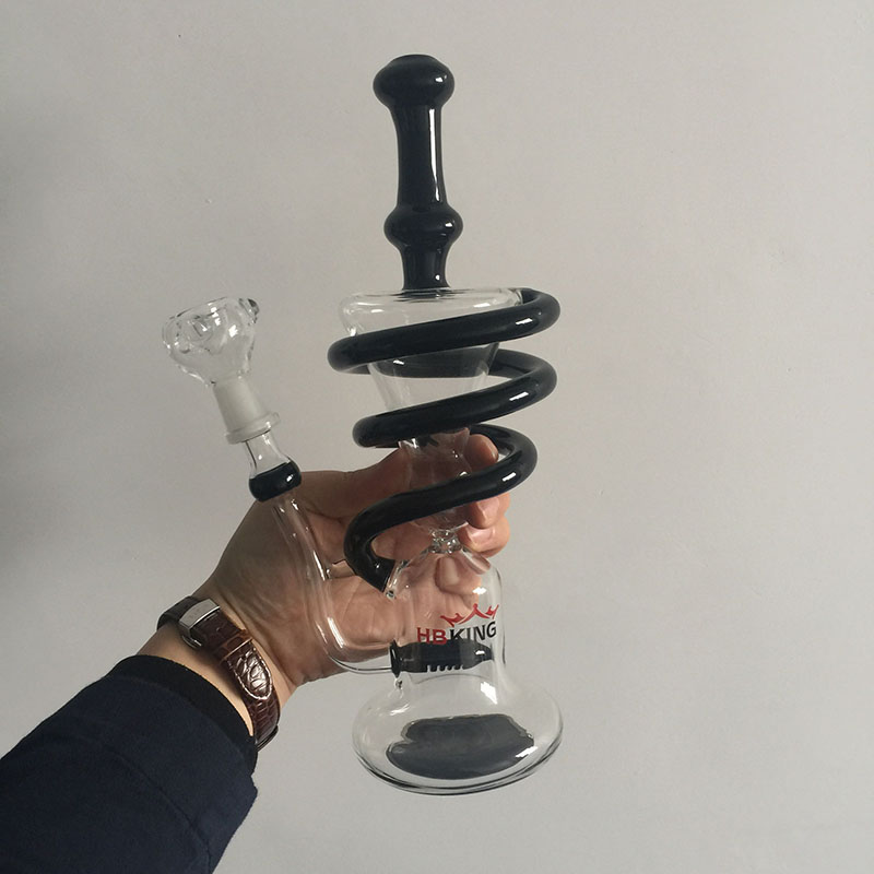Wholesale Spiral Recycle Glass Water Pipe Handblown Glass Water Pipe