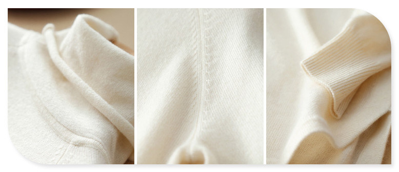New Pure Cashmere Pullover Sweater with Pile Collar