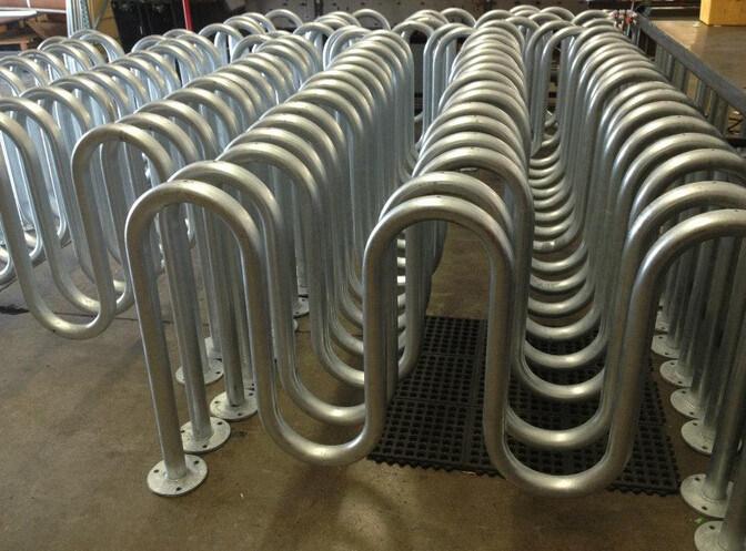5 Bike Parking Outdoor Steel Wave Bike Rack