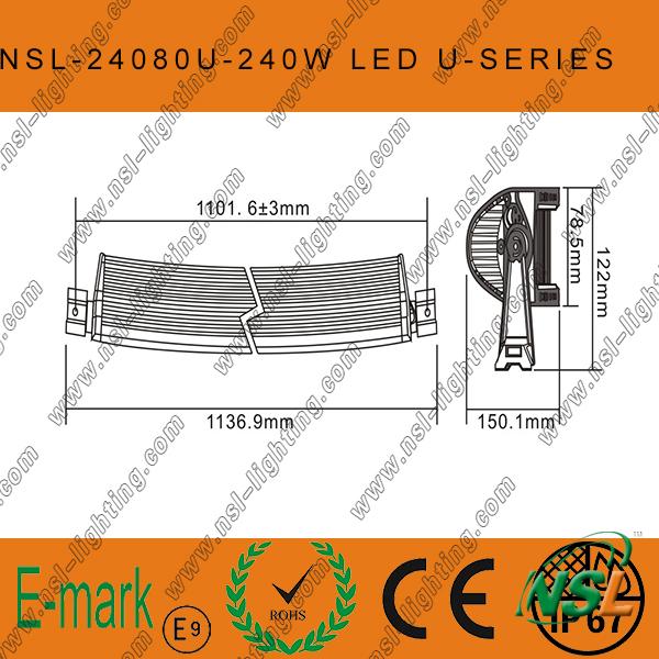 40'' 240W CREE LED Light Bar off Road Driving, Spot/Flood Beam LED Light Bar