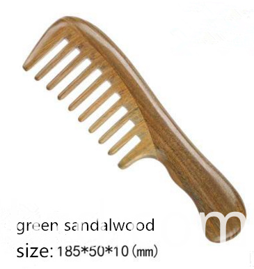 green sandalwood wood wide tooth comb