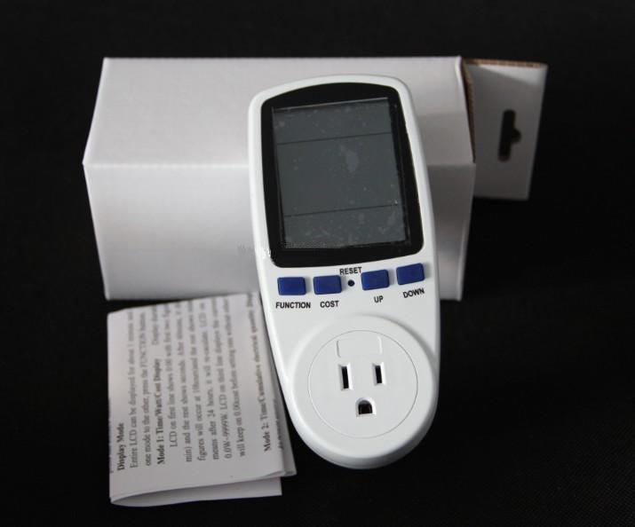 Plug Power Meter Socket with Big LCD 10A 220V
