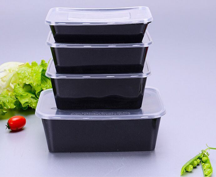 Black Rectangular Disposable Plastic Food Container with Lid