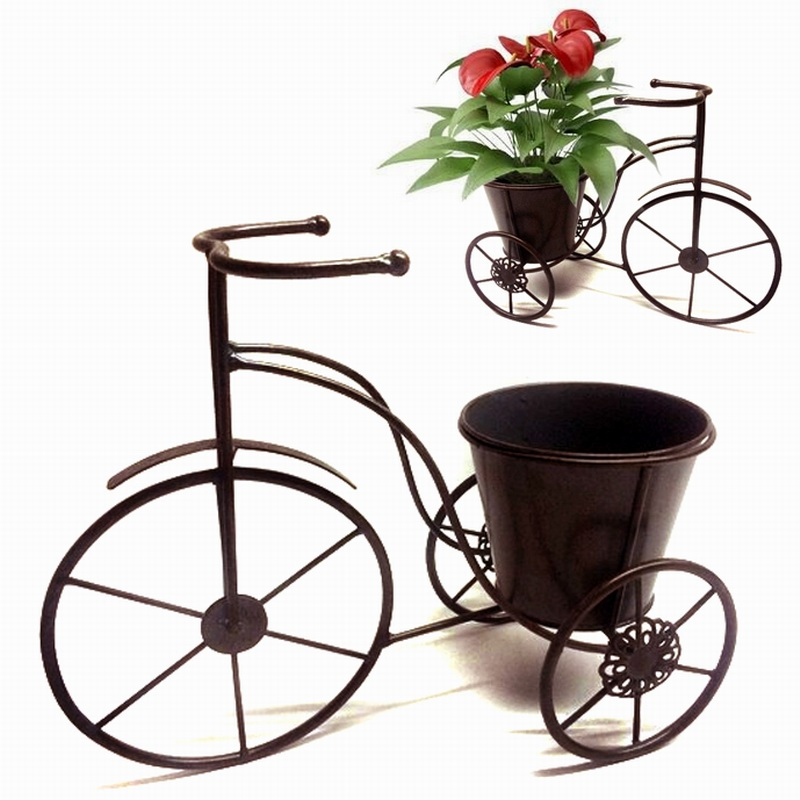 Hot Selling Decoration Metal Tricycle Garden Flowerpot Craft