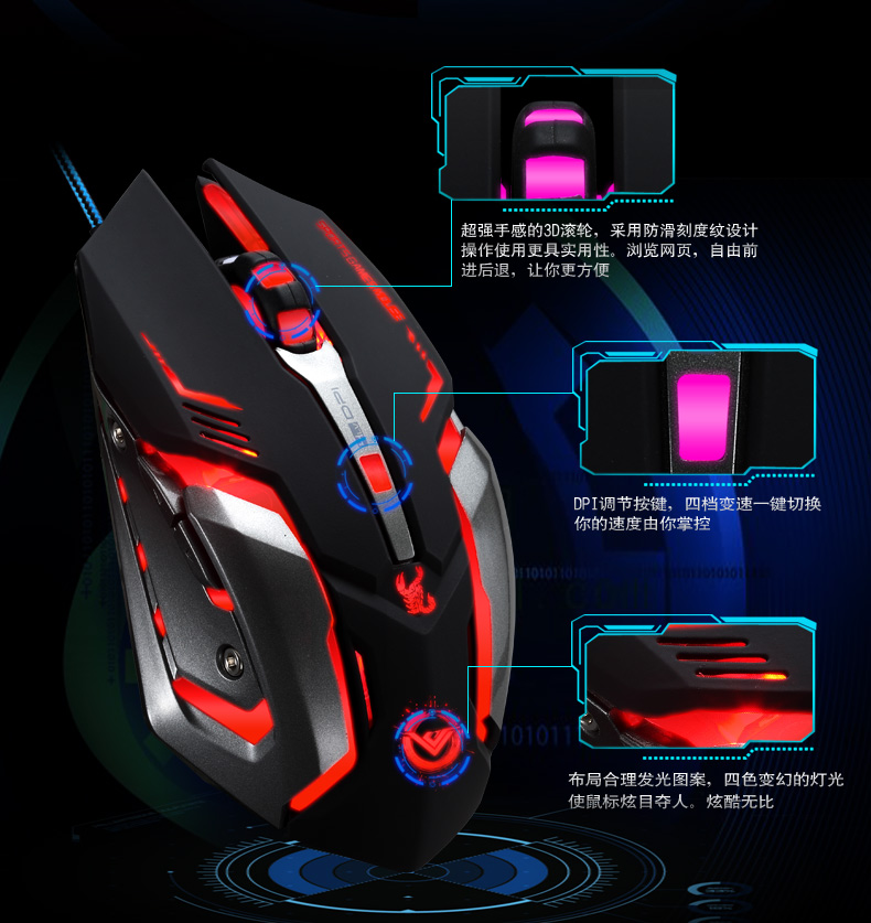 Amazon Top Selling Wired LED Game Mouse (M-73-1)