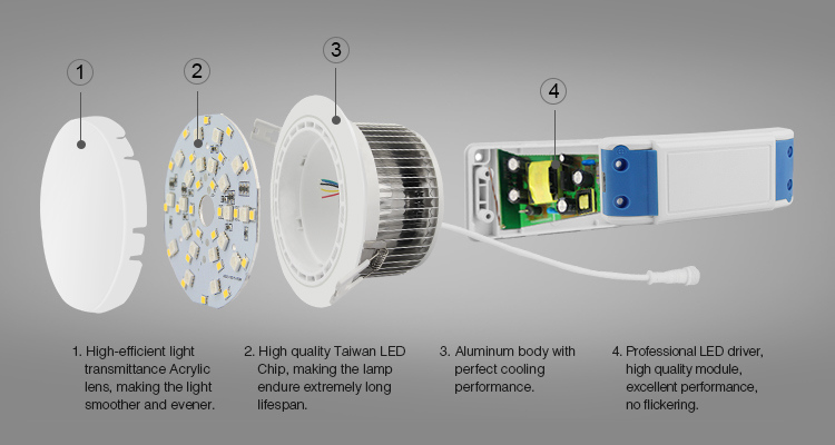 12W LED Color-Temp Dimmable Downlight