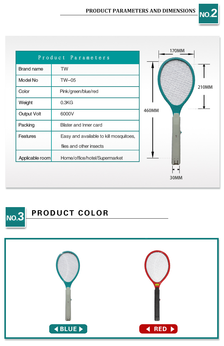 7000V Rechargeable Mosquito Swatter with Ce & RoHS