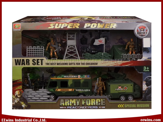 DIY Toys Military Sets with Ambulance and Plate Trailer