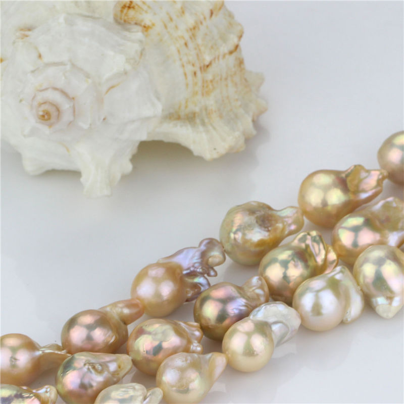 Freshwater Large Baroque Pearl Strand Size 15mm AA Necleated Natural Peach Pearl Strand
