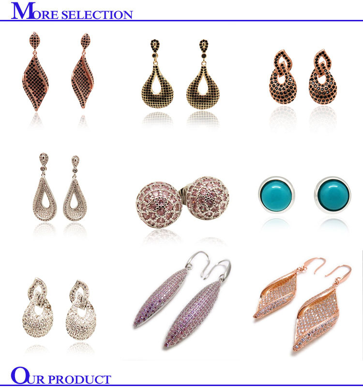 Wholesale Vintage Jewellery Pink Color Stone Brass Stud Earring for Girls