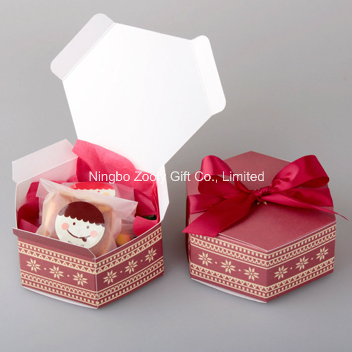 Hexagonal Printed Paper Cardboard Box for Candy Apple Cake