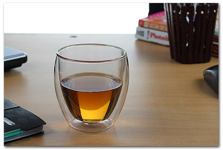 250ml Hand Blown Double-Wall Glass Mug Double Cup