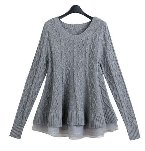 2016 Organza Splicing Knit Pullover Sweater