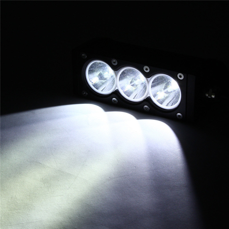 6inch 30W Spot Single Row LED Light Bar with White Lighting. Amber Lighting for Cars, Jeep, SUV, 4X4, Offroad
