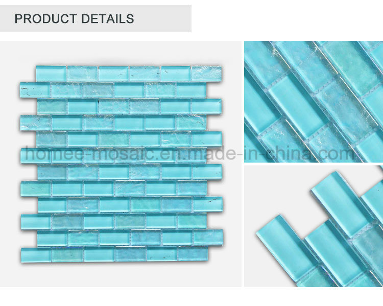 Blue Color Crystal Brick Tile Swimming Pool Mosaic Tile