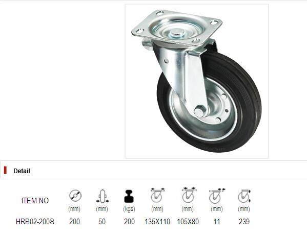 Trash Bin Casters Series - Black Iron Core Rubber Wheel