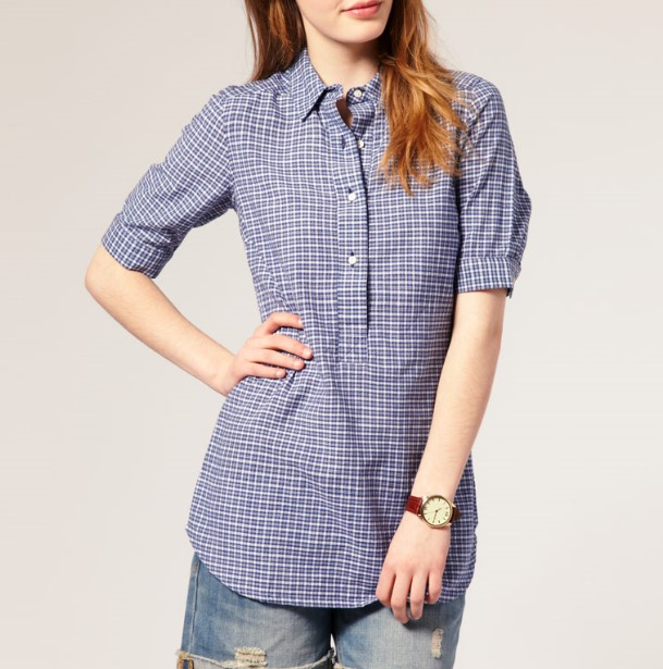 Fashion 100%Cotton Check Fabric Wholesale Women and Girl's Shirt