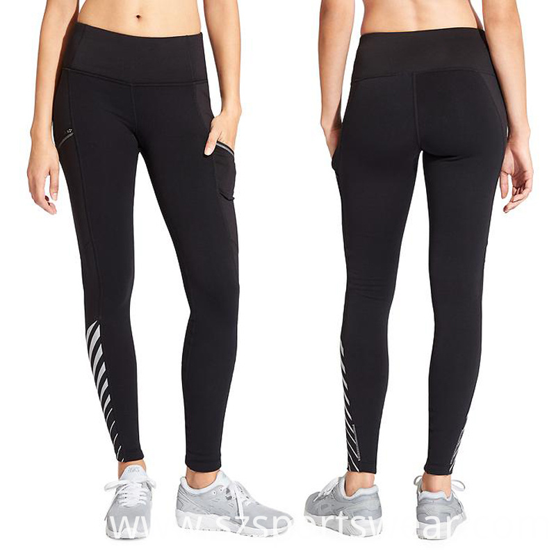 Girls Sexy Fitness Yoga Pants with Black Mesh and Reflective Stripes