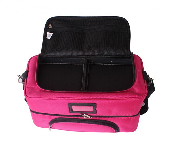 Nylon Makeup Case Storage Cosmetic Bag with Trays Pink Beauty Makeup Packing Case