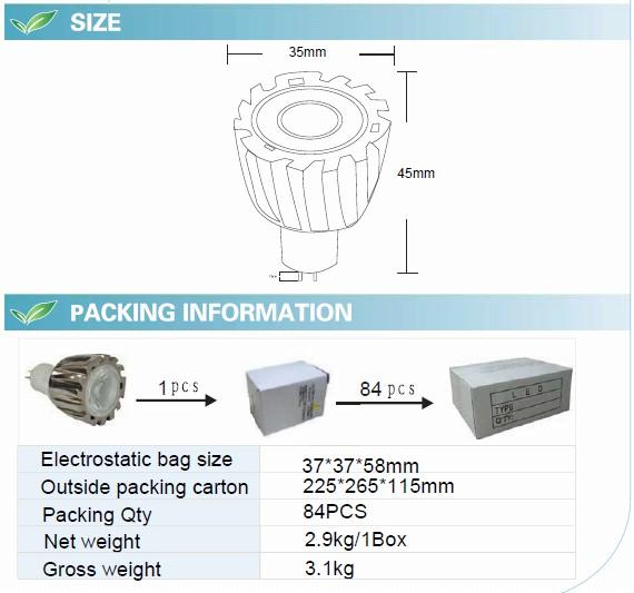 1W LED Spotlight with CE RoHS (GN-HP-WW1W1-MR11)