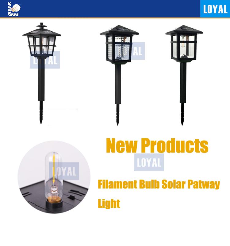 Loyal China Factory Black LED Waterproof LED Filament Bulb Outdoor Solar Panel Solar Lawn Lighting