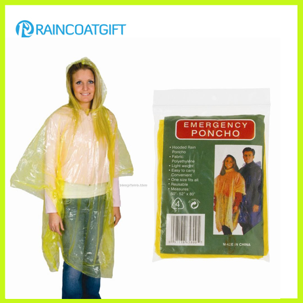 Yellow PE Rain Ponchos Disposable Rain Poncho Rpe-033