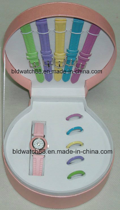 Promotion Watch Gift Sets with Changeable Straps and Rings