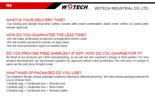 Wotech Spare Casting Parts of Ts16949 Certificate