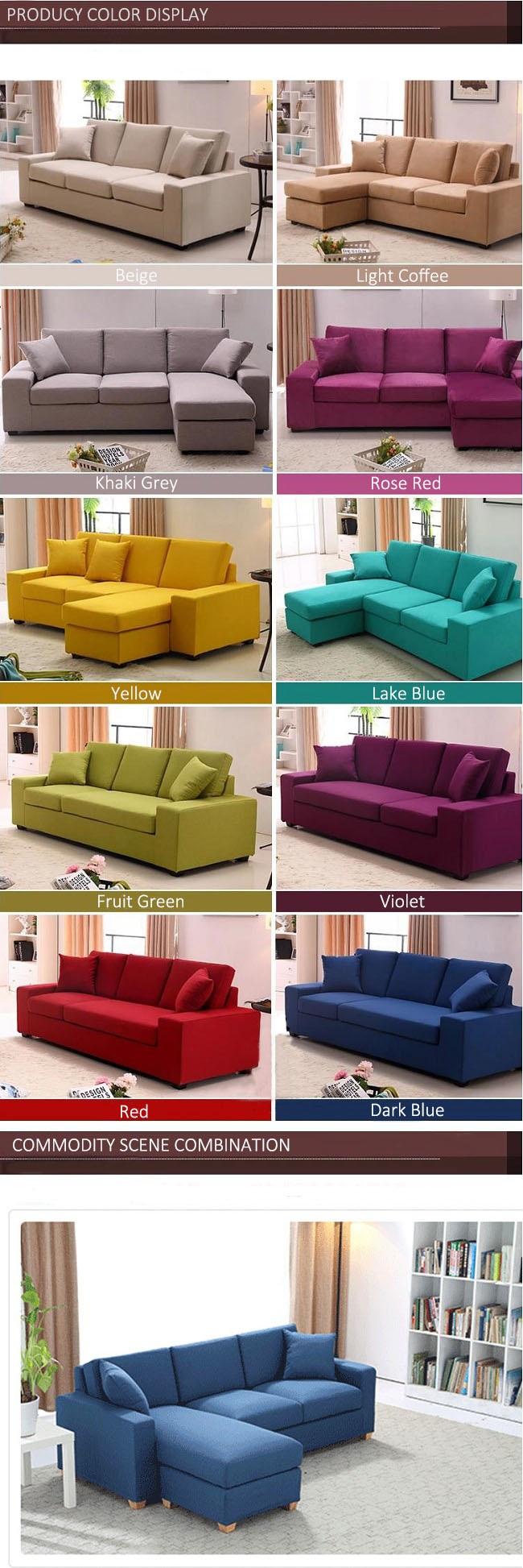 Janpanese Style Leisure Sectional Sofa Living Room Corner Washable Fabric Sofa