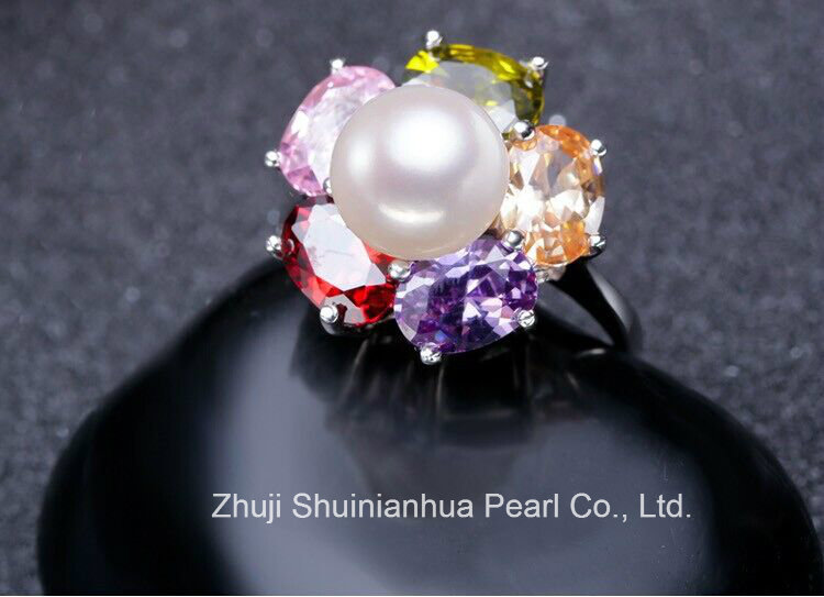 Fashion Freshwater Pearl Ring 9-10mm AAA Buttton 925 Silver Original Pearl Ring
