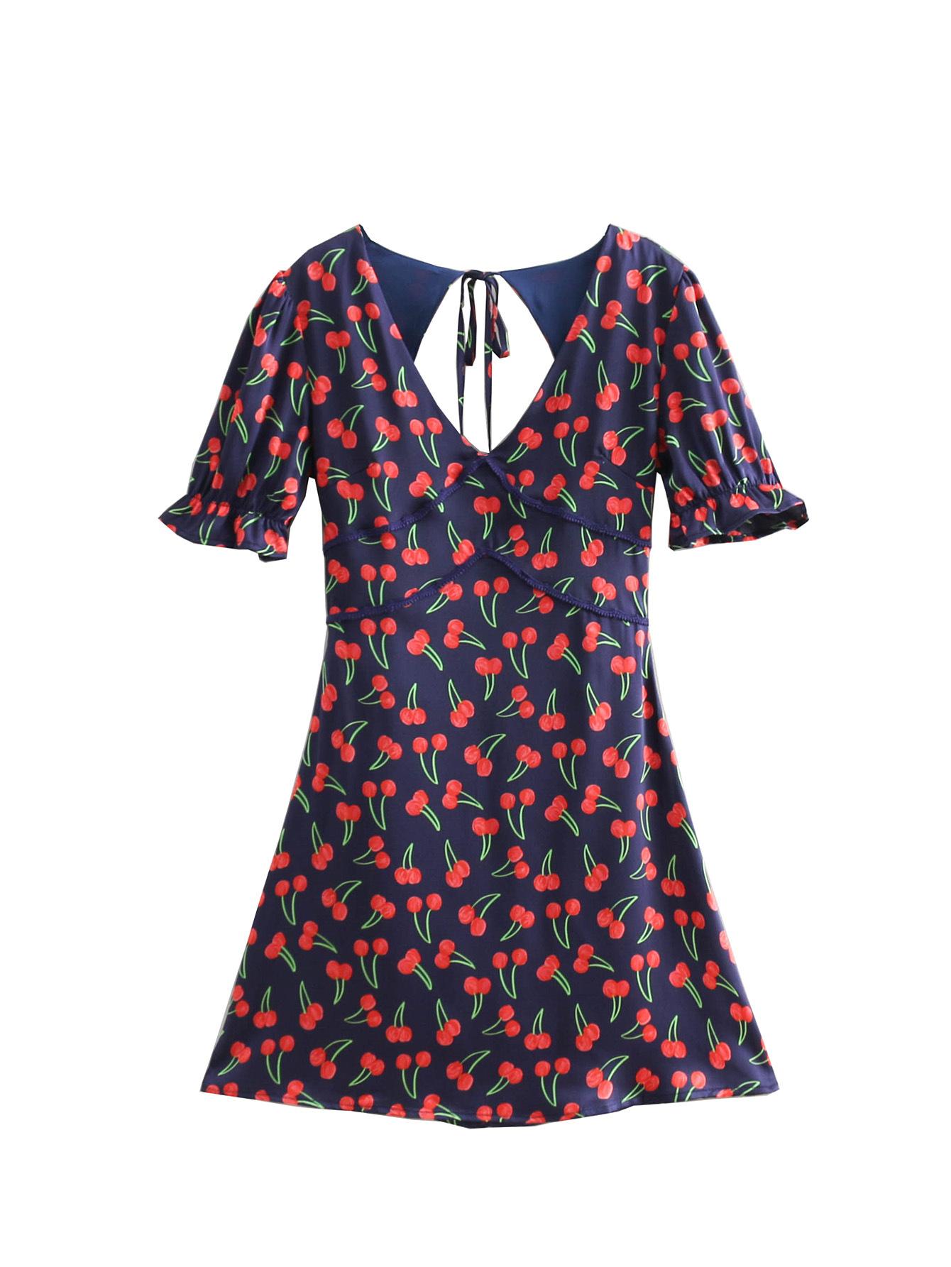 Women's Causal Cherry Printed Dress