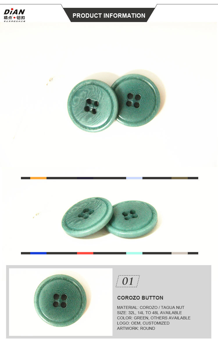 32L Natural Corozo Buttons for Suits