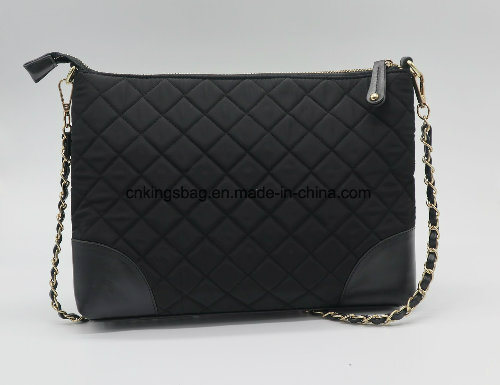 Polyester Quilted Fashion Multi Pockets Ladies Sling Bag Black Colour