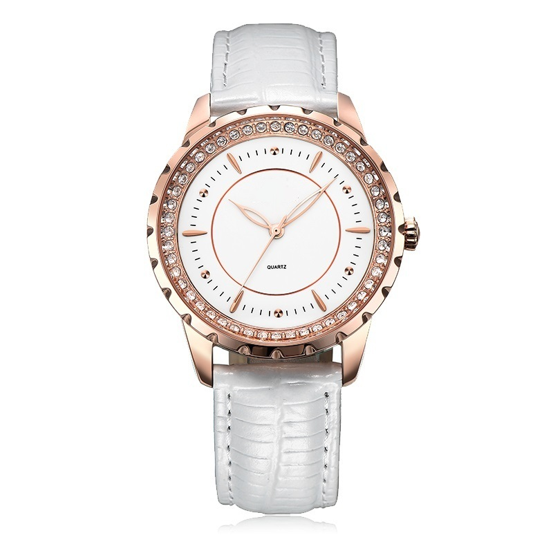 White Leather Watch for Lady