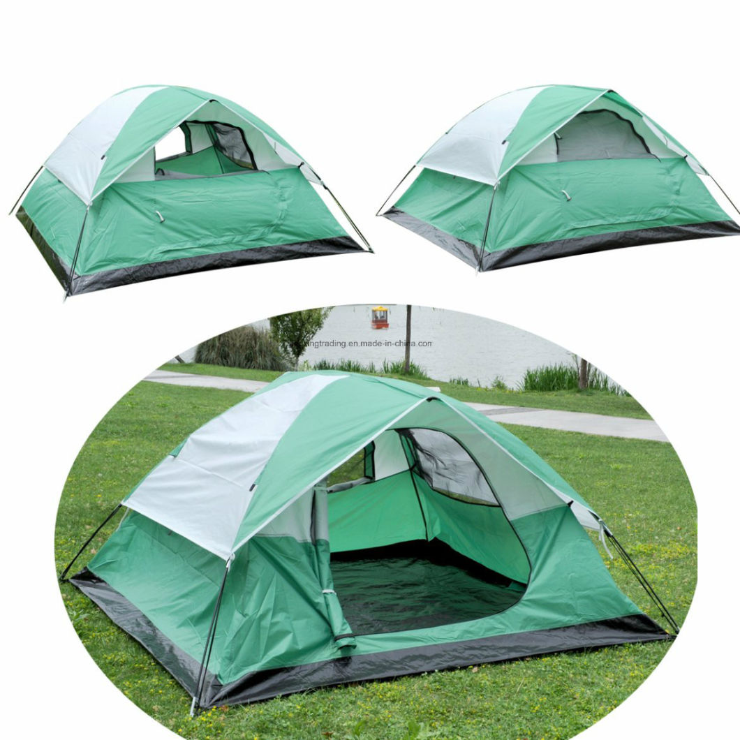 Popular Double-Skin 100% Polyester Camping Tent for 2-3 Persons