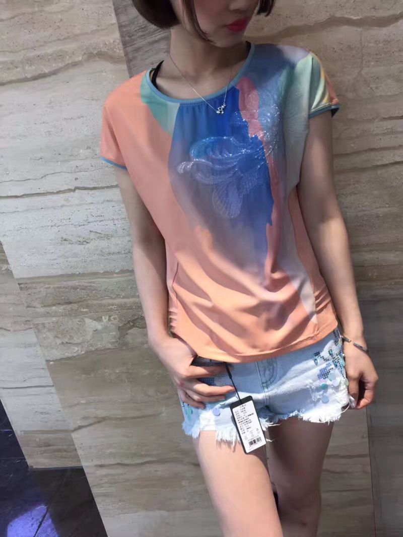 Summer Fashion Latest Printing Gradients Flower Ladies T-Shirt Clothes