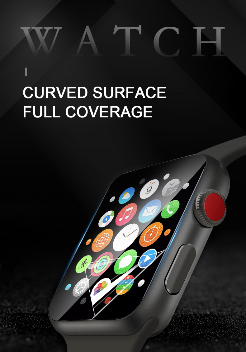 Full coverage hydrogel watch protective film