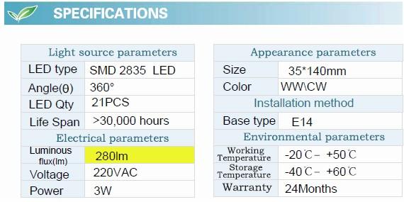 3W F37 LED Bulb with CE RoHS (GN-HP-CW3W-G35-E14-TA)