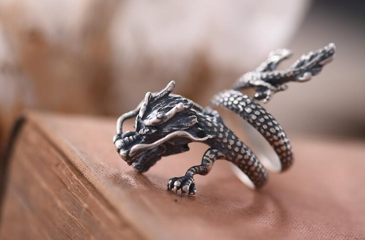 925 Sterling Silver Male Ring Gragon Flying Design Old Color Retro Fashion