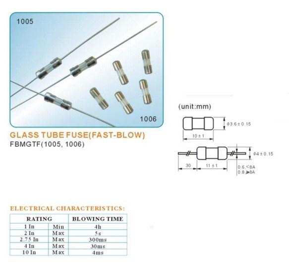 3.6X10 Size 250V/125V Glass Tube Fuses, Fuse