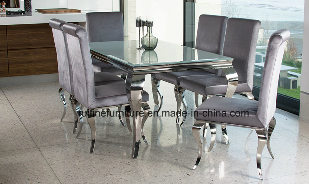 Modern French Louis Grey Silver Velvet Fabric Dining Chair with Straight Back