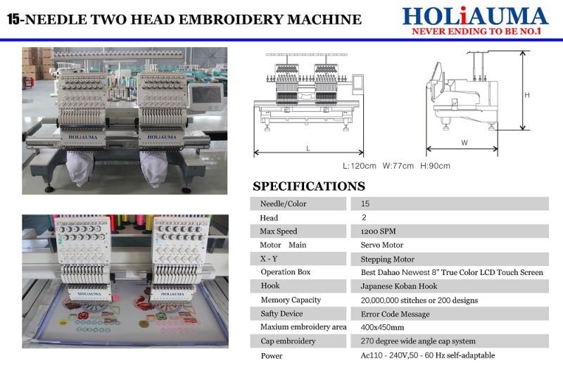 The Best Two Head 15 Colors Embroidery Machine for Multi Functions Cap/T-Shirt/Flat Garment/Towel/3D Embroidery