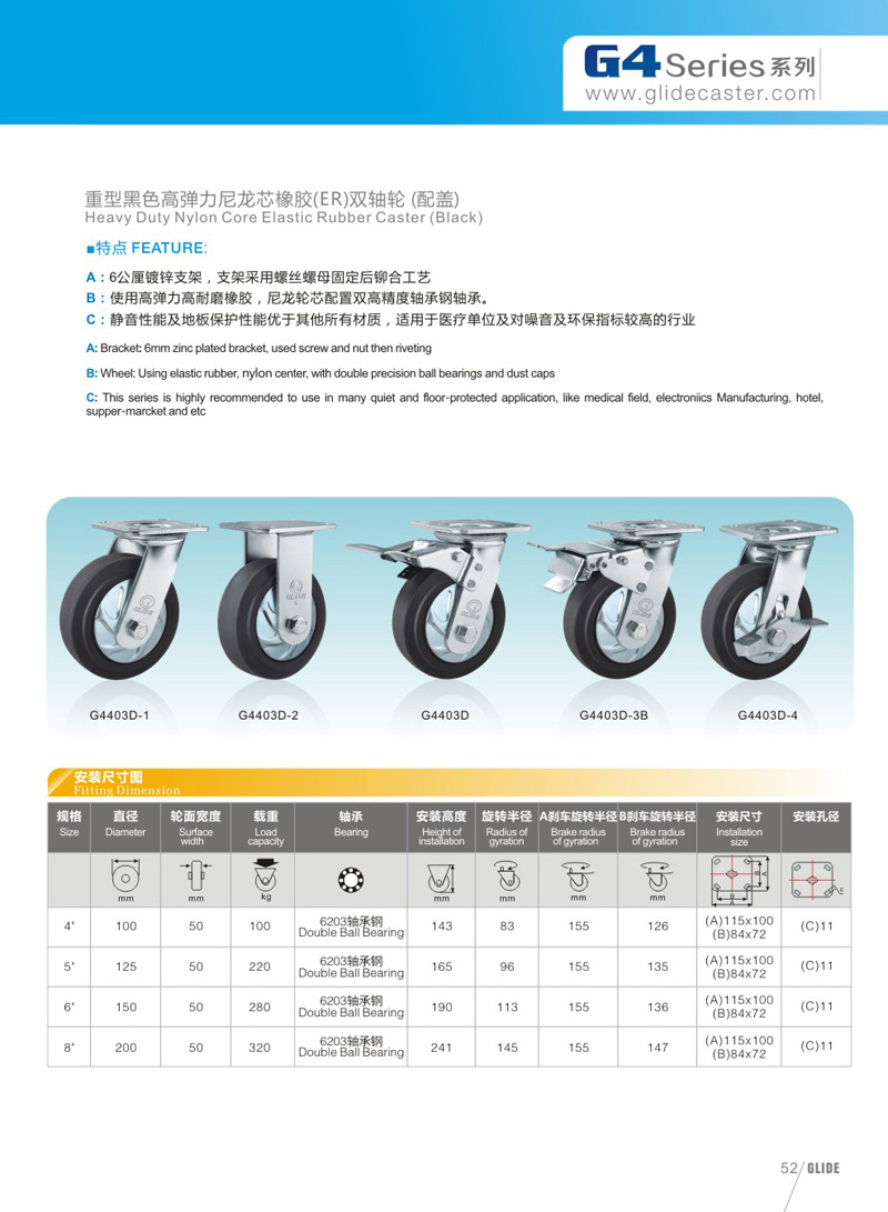 Heavy Duty Nylon Core Elastic Rubber Swivel Caster (G4403D)