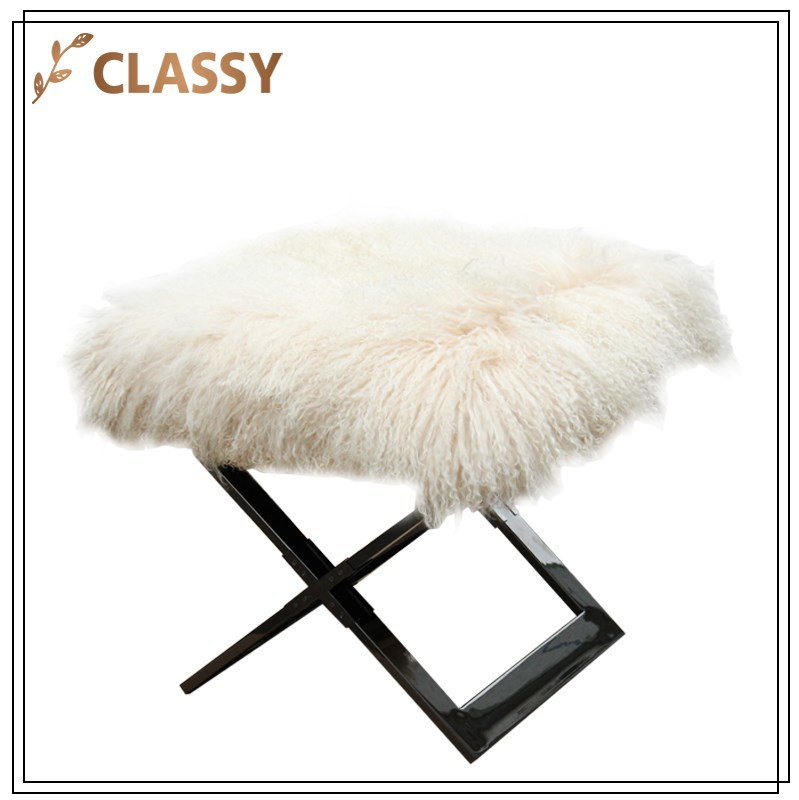 Cream Wool Flannel Top Stainless Steel Base Folding Leisure Chair